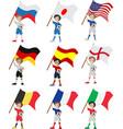 Happy soccer fan holds flag vector