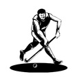 Field hockey player running with stick retro vector