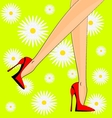 Feet and red shoes vector