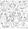 Seamless pattern with beautiful princesses vector