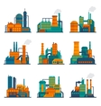 Industrial building icons set flat vector