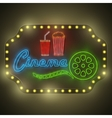 Neon colorful cinema retro billboard vector