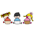 Children with cakes vector