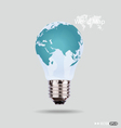 Electric light bulb with a world map vector