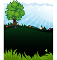 Tree in meadow vector