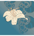 lily on floral background vector