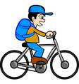 Boy bicycle vector