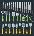Flat kitchenware cutlery tools set vector