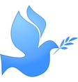 Peace symbol blue pigeon on white vector