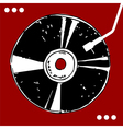 Vinyl disc on red background vector