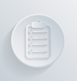 Flat circle icon sheet of paper on the tablet vector