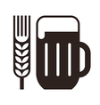 Beer glass and wheat ear symbol vector