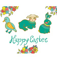 Easter card with duck lamb rabbit and flowers vector