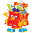 Funny satchel with school objects vector
