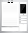 Paper sheet cute note papers and mobile phone vector