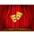 Golden masks and red curtain vector