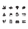 Silhouette food and shop icons vector