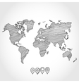 Hand drawn doodle sketch political world map and vector