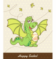 Retro easter card with dragon vector