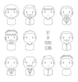 Set of line male faces icons funny cartoon hand vector