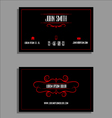 Business card template - red and black flourish de vector