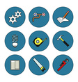 Tools thin line icons set vector