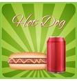 Vintage hotdog poster design vector