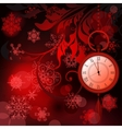 Red new year background with watches and vector