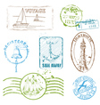 Set of retro sea stamps vector
