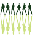 Six girl posing silhouette vector