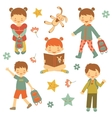 Collection of different kids vector