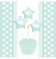Blue birthday cupcake with candle and balloons on vector