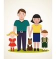 Happy family parents with two children and dog vector