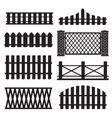 Big set of wooden fence silhouette vector
