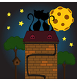 Black cat under moon vector