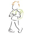 Child with schoolbag vector