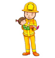 A coloured sketch of a fireman saving a child vector