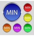 Minimum sign icon set of colored buttons vector