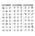 Black beverage food kitchen icons set vector