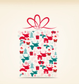 Christmas gift ornament with icon retro vector