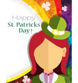Leprechaun girl icon on rainbow vector