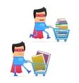 Superhero carting books vector
