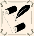 Vintage pen and paper vector