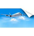 Background with airplane on blue sky travel vector