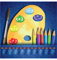 Pencils and paint brush vector