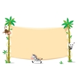 Banner on two palm tree with small funny animals vector