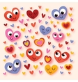 Happy cartoon hearts vector