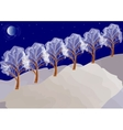 Winter night landscape with trees vector