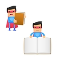 Superhero carrying book vector