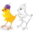 Chicken with flower cap vector